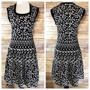 Rebecca Taylor Leopard Stretch Dress Black Knit